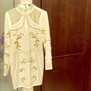 Off white dress dress with gold/silver studs